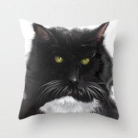 xena Throw Pillows featuring Cat Xena Warrior Princess by Adrian Preciado