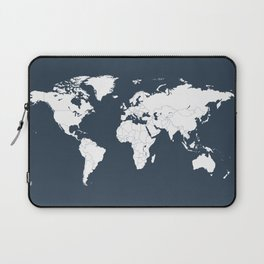 Minimalist World Map in Navy Blue Laptop Sleeve