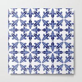 Indigo Tile Pattern Metal Print