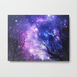 Black Trees Purple Blue Space Metal Print