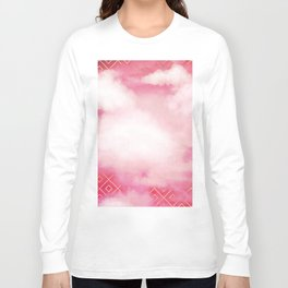 Geometric Clouds In Pink Long Sleeve T-shirt