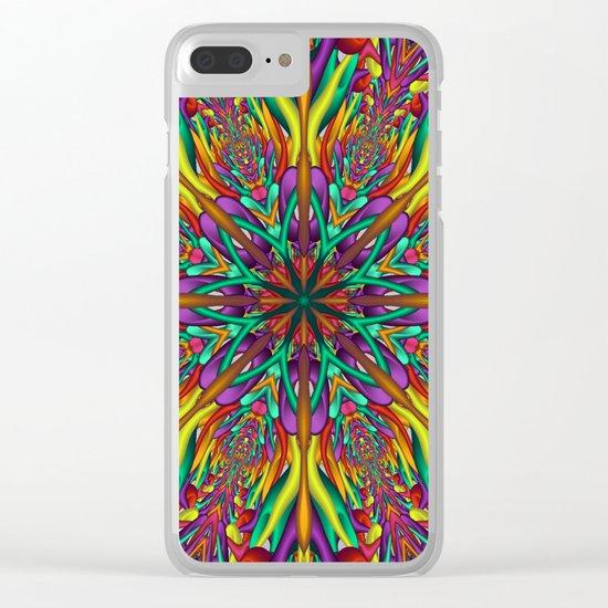 Crazy colors 3D mandala Clear iPhone Case