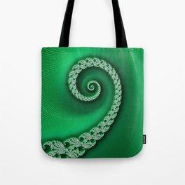 Christmas Green Golden Spiral - Fractal Art Tote Bag