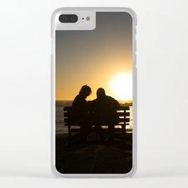 Seniors couple enjoying colorful sunset Clear iPhone Case
