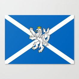 Blue and White Scottish Flag with White Lion Canvas Print