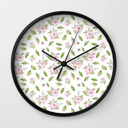 Hand painted green pink watercolor modern floral Wall Clock