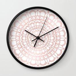 Rose Gold Boho Mandala Wall Clock