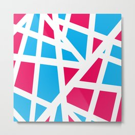 Abstract Interstate  Roadways Aqua Blue & Hot Pink Color Metal Print