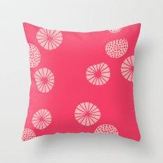 Dandelion flying hot pink Throw Pillow