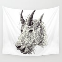goat Wall Tapestries featuring Goat by Ursula Rodgers