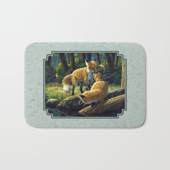 Red Fox Pups Playing Bath Mat