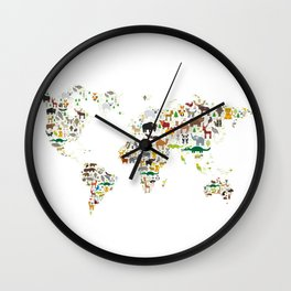 Cartoon animal world map for children and kids, Animals from all over the world on white background Wall Clock
