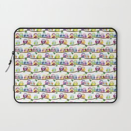 Colorful Owls On Branches Laptop Sleeve