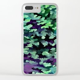 Foliage Abstract Pop Art In Jade Green and Purple Clear iPhone Case