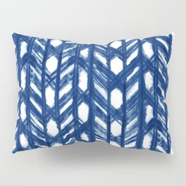 Indigo Geometric Shibori Pattern - Blue Chevrons on White Pillow Sham