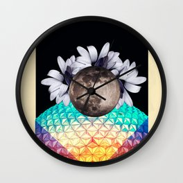 Beyond the moon and back Wall Clock