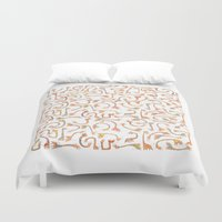 giraffes Duvet Covers featuring Giraffes by Alison Sadler's Illustrations