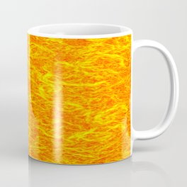 Horizontal metal texture of Iridescent highlights on yellow waves. Coffee Mug