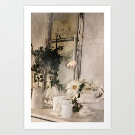 Shabby Charme Stillife with candle Art Print