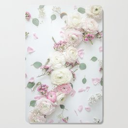 SPRING FLOWERS WHITE & PINK Cutting Board
