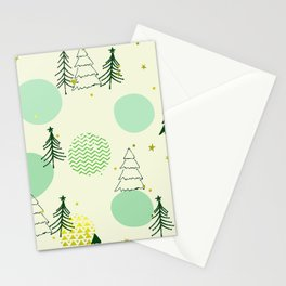 Christmas Christmas Tree Pattern With Mid-Century Modern Designs Stationery Cards