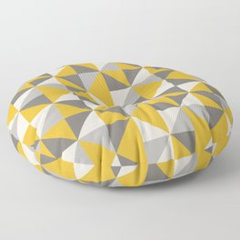 Retro Triangle Pattern in Yellow and Grey Floor Pillow