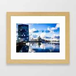 View of Boats on the Sea behind the Harpa Concert Hall in Reykjavik, Iceland Framed Art Print