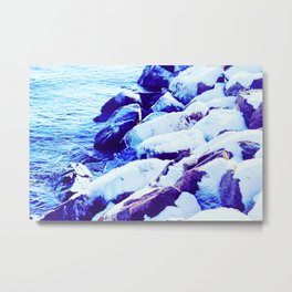 Snow Covered River Stones Metal Print