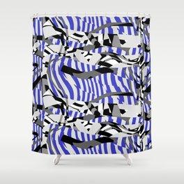 Blue Prickly Scraps Shower Curtain