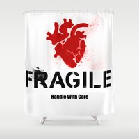 anatomical heart Shower Curtains featuring Fragile Anatomical Heart(RED) by J ō v