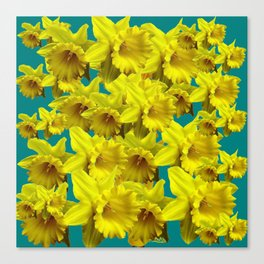 YELLOW SPRING DAFFODILS ON TEAL COLOR ART Canvas Print