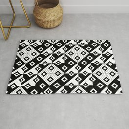 Diagonal squares in black and white Rug