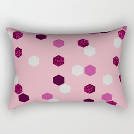 Modern pastel pink white glitter geometrical honeycomb pattern Rectangular Pillow