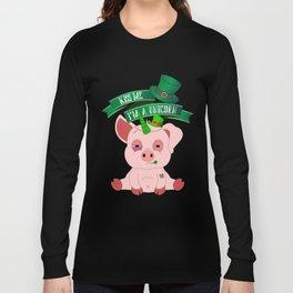 St Patrick's Day Kiss Me I'm A Unicorn Pig Long Sleeve T-shirt