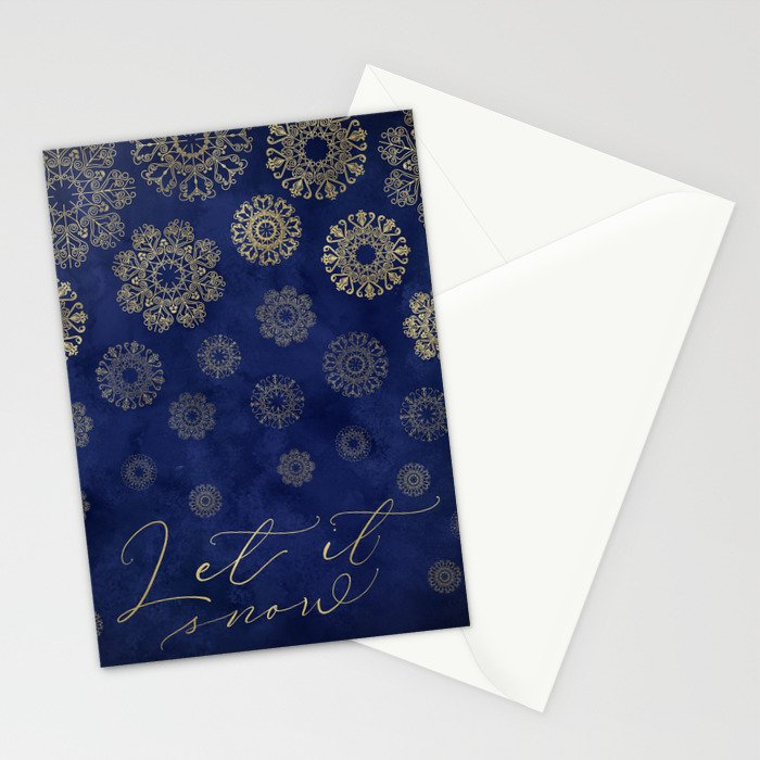 Let it snow, gold lace snowflakes in the night sky Stationery Cards