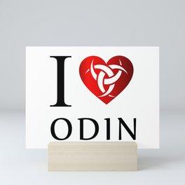I love Odin- the horns of Odin, a satanist symbol Mini Art Print