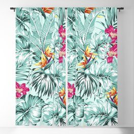 Bird of Paradise Greenery Aloha Hawaiian Prints Tropical Leaves Floral Pattern Blackout Curtain