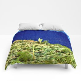 Cactus Against the Mountains Comforters