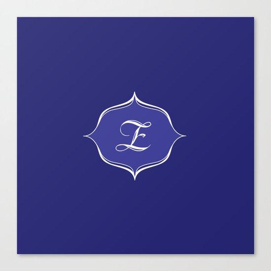 Z Monogram Royal Blue Canvas Print