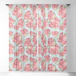 English Roses Blue Polka Dots Sheer Curtain