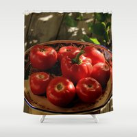 vegetables Shower Curtains featuring Red vegetables by Svetlana Korneliuk