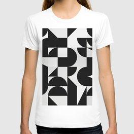 Modern Geometry / Minimal, Black, White, Grey T-shirt
