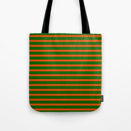 Red and Dark Green Lined/Striped Pattern Tote Bag