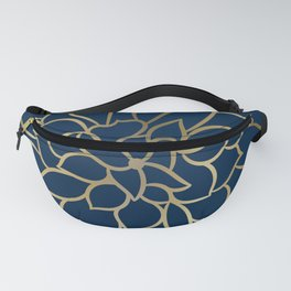 Floral Prints, Line Art, Navy Blue and Gold Fanny Pack