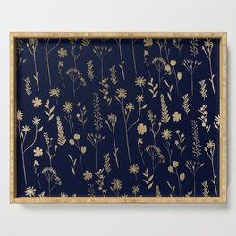 Hand drawn gold cute dried pressed flowers illustration navy blue Serving Tray