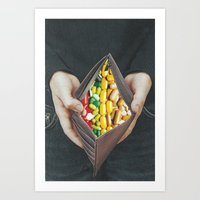 pills Art Prints featuring pills by marzesu collages