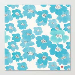 Camellia Flowers in Blue Pattern Canvas Print