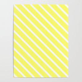 Custard Diagonal Stripes Poster