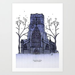 Shrewsbury Abbey, Abbey Foregate. Blue Art Print
