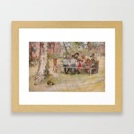 Breakfast under the big birch, 1896 by Carl Larsson Framed Art Print